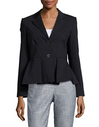 Ivanka Trump Pleated Cotton Blazer Navy