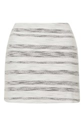 Topshop Tall Stripe Boucle Aline Skirt Monochrome