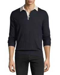 Ralph Lauren Contrast Collar Wool Sweater Navy