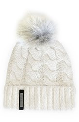 Soia And Kyo Women's Cable Knit Beanie With Genuine Coyote Fur Pom Ivory