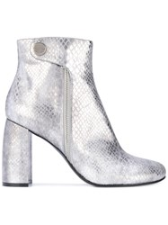 Stella Mccartney Metallic Alter Snakes Skin Ankle Boots Women Artificial Leather 36 Grey