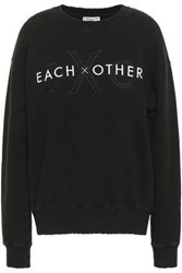 Each X Other Embroidered French Cotton Terry Sweatshirt Black