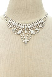 Forever 21 Diamante Bib Necklace Silver Clear