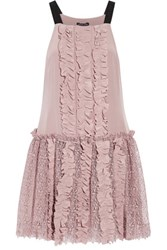 Marissa Webb Karina Ruffled Washed Silk And Lace Dress Blush