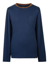 Pretty Green Men's Drayton Jacquard Neck T Shirt Navy