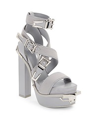 Versace Leather Buckle Platform Sandals Grey