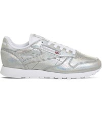 Reebok Classic Metallic Leather Trainers Silver Glitter
