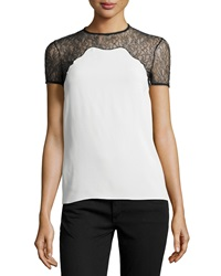 Michael Kors Chantilly Lace Trim Short Sleeve Shell White