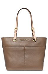 Michael Michael Kors 'Bedford' Top Zip Leather Pocket Tote Beige Dark Dune