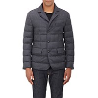 Moncler Men's Down Flannel Three Button Sportcoat Dark Grey