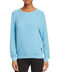 Wildfox Couture Pullover Basic Solid Baggy Beach Blue Shimmer