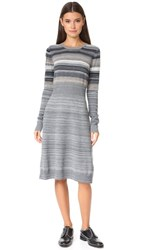 Marc Jacobs Multi Stripe Sweater Dress Grey Melange Multi