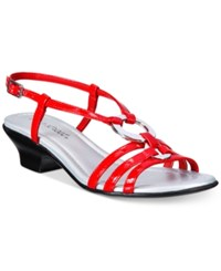 Easy Street Shoes Selena Sandals Women's Red Patent