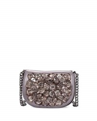 Neiman Marcus Crystal Cluster Crossbody Bag Pewter