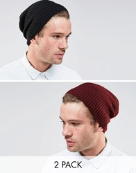 Asos Slouchy Beanie Hat 2 Pack In Black And Burgundy Save 20 Black Burgundy Multi