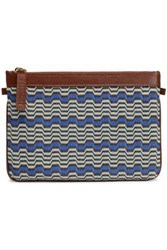 Missoni Leather Trimmed Intarsia Knit Pouch Multicolor
