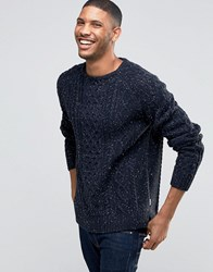 Bellfield Flecked Cable Knitted Jumper Navy