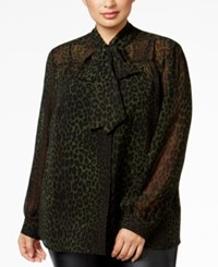 Michael Kors Plus Size Animal Print Tie Neck Blouse Moss