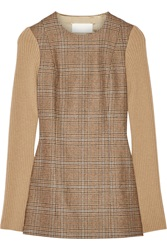 Maison Martin Margiela Ribbed Paneled Houndstooth Wool Top