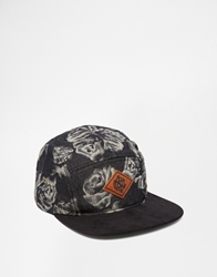 Icon Brand Floral 5 Panel Strapback Cap Black