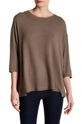 Heather By Bordeaux Hatchi 3 4 Length Sleeve Sweater Brown