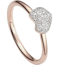 Monica Vinader Nura 18Ct Rose Gold Vermeil And Diamond Ring