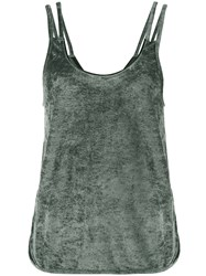 Lot 78 Lot78 Sleeveless Velvet Top With Cut Out Sides Women Polyester Viscose S Green
