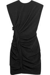 Carmen March Ruched Crepe Mini Dress Black