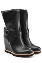 Ugg Australia Leather Wedge Boots Black