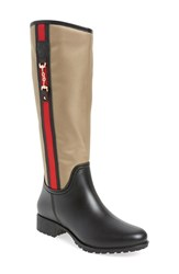 Dav Women's 'Fairfield' Tall Rain Boot Khaki Black