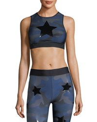 Ultracor Level Camo Print Knockout Crop Top Blue Pattern