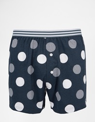 Asos Jersey Boxers With Polka Dot Print Blue