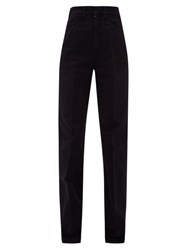 Christophe Lemaire High Rise Garment Dyed Straight Leg Jeans Black
