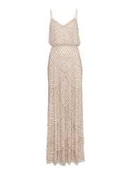 Adrianna Papell Art Deco Beaded Dress Taupe