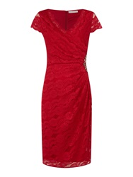 Shubette Cap Sleeve Wrap Dress With All Over Lace Red