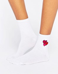 Asos Valentines Embroidered Heart Ankle Socks White Grey