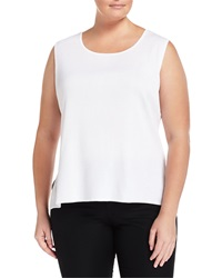 Ming Wang Plus Sleeveless Scoop Neck Shell White