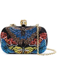 Alexander Mcqueen 'Skull' Sequined Butterfly Clutch Black