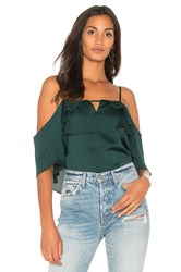 1.State Cold Shoulder Blouse With Layered Ruffles Green