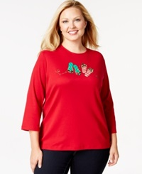 Karen Scott Plus Size Holiday Flip Flop Graphic Top Only At Macy's