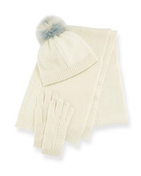 Portolano Cashmere Hat Scarf And Gloves Set White Blue