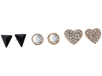 Guess Pearl Triangle Pave Heart Button Trio Earrings Set Pearl Rose Gold Jet Earring