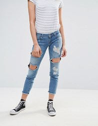 Only Destroyed Patched Boyfriend Jeans 031 Blue