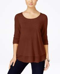 Styleandco. Style Co. Petite Chiffon Hem Top Only At Macy's Rich Auburn