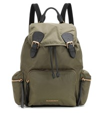 Burberry The Large Leather Trimmed Backpack Green