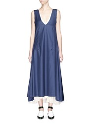 Toga Archives Low Back Contrast Underlay Wool Dress Blue
