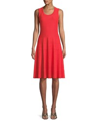 Nic Zoe Scoop Neck Sleeveless Twirl Dress Hot Coral