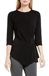 Vince Camuto Women's Side Pleat Asymmetrical Top Rich Black