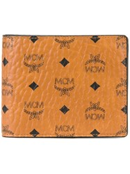 Mcm Logo Print Billfold Wallet Nude And Neutrals