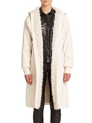 Helmut Lang Reve Faux Fur Lined Jacket Off White